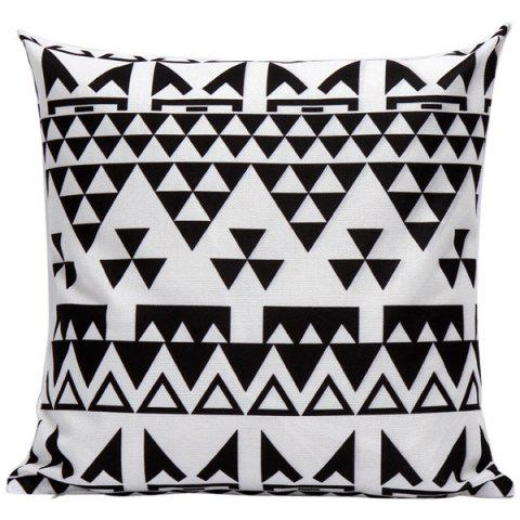 Unique Soft Decorative Household Geometrics Triangles Pillow Case WHITE AND BLACK