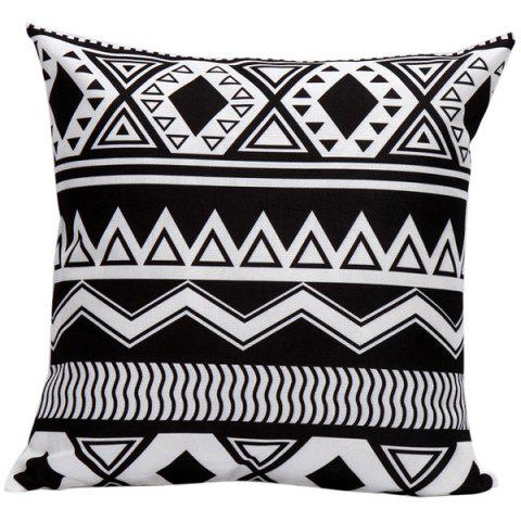 Chic Soft Decorative Household Geometrics Corrugateds Pillow Case WHITE AND BLACK