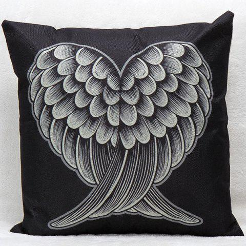 Latest Soft Decorative Household Red and Black Heart Wings Pillow Case BLACK