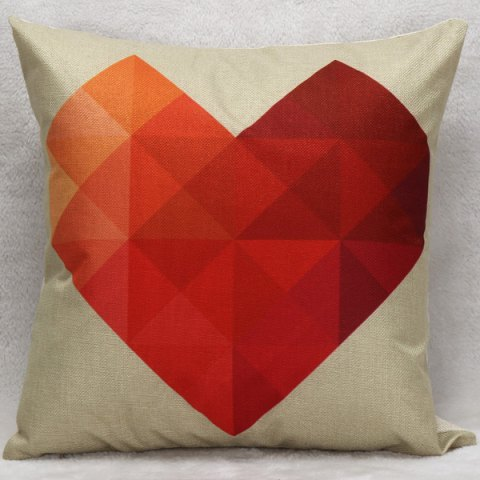 Outfits Hot Sale Romantic Heart Pattern Decorative Household Pillow Case RED WITH WHITE