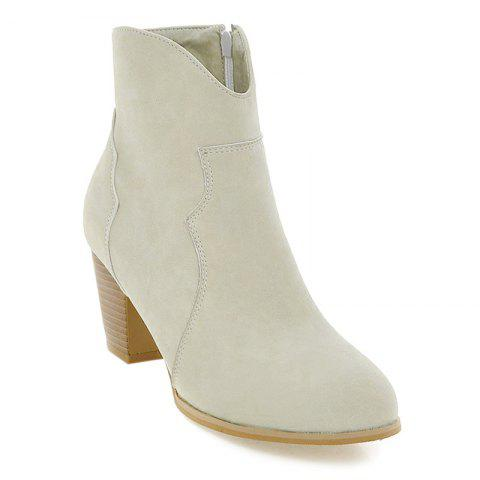 Shop Suede Zip Chunky Heel Ankle Boots OFF WHITE 39