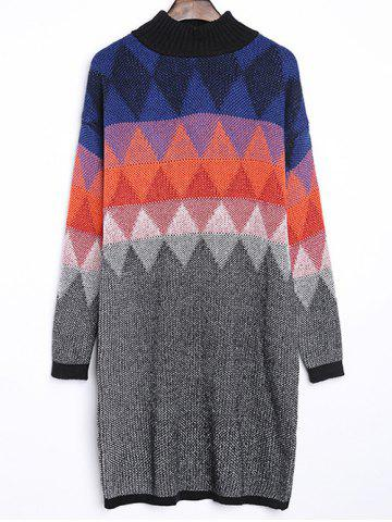 Discount Argyle Jacquard Loose-Fitting Sweater Dress COLORMIX ONE SIZE