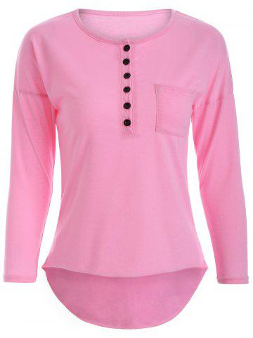 Online Buttoned Long Sleeve Asymmetric Tee PINK XL