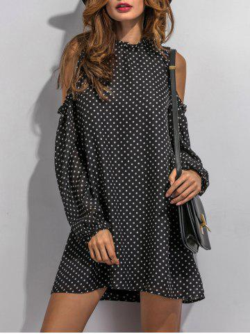 Fancy Cold Shoulder Sleeve Polka Dot Mini Dress
