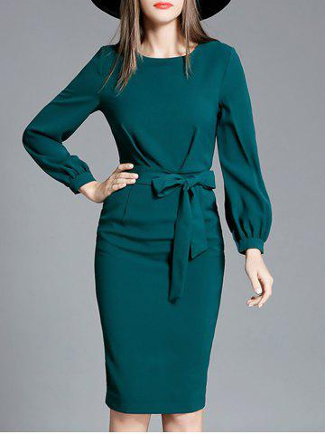 Sale Bowknot Long Sleeve Pencil Dress