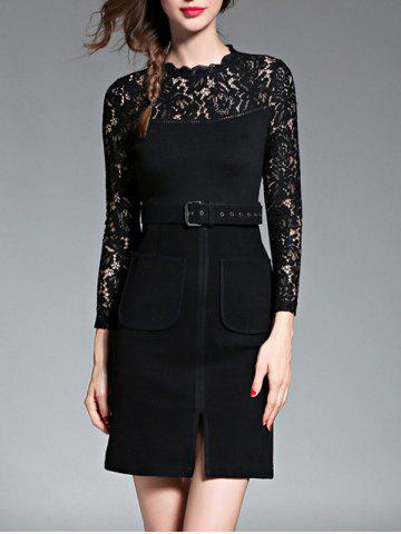 New Empire Waist Lace Spliced Slit Pencil Dress with Long Sleeves