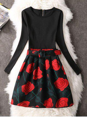 Trendy Rose Long Sleeve Fit and Floral Cocktail Dress RED M