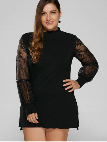 Discount Lace Splicing Mini Plus Size Dress