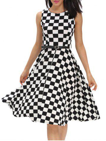 Retro High Waist Plaid Belted Dress - Black - L