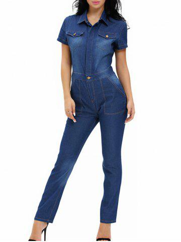 Outfits Buttoned Pocket Design Denim Jumpsuit DENIM BLUE S