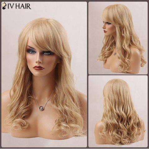 Sale Long Fluffy Oblique Bang Wavy Human Hair Wig BLONDE