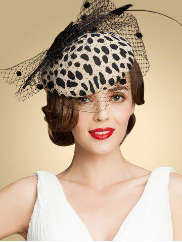 New Leopard Print Bow Feather Mash Cocktail Hat