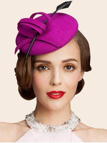 Store Wool Spiral Band Feather Cocktail Hat PEACH RED