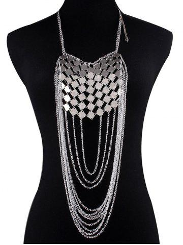 Unique Layered Square Paillettes Chain Necklace