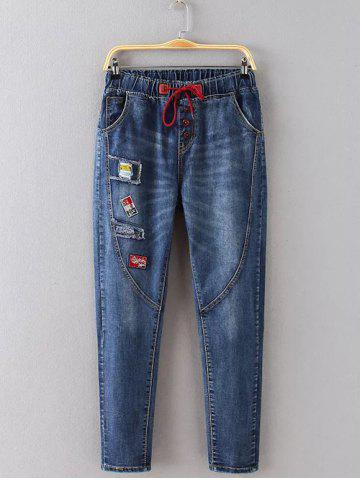 Outfits Plus Size Drawstring Patch Spliced Skinny Jeans