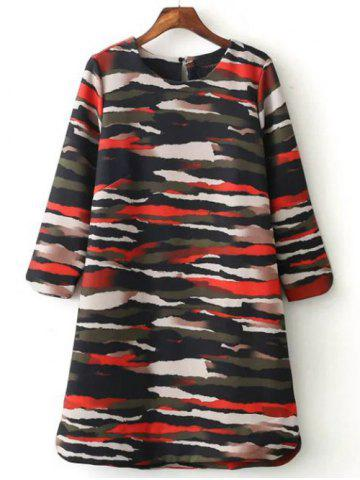 Chic Casual Long Sleeve Camo Print Mini Dress COLORMIX L