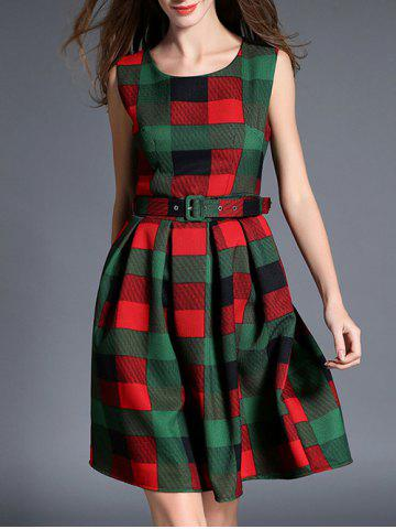 Shop Checked Thick Belted Fit and Flare Dress GREEN XL