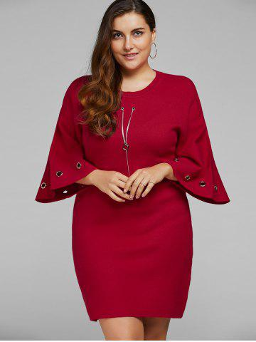 Outfits Bell Sleeve Plus Size Knitted Dress