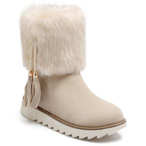 Best Flat Heel Tassels Faux Fur Snow Boots OFF WHITE 37