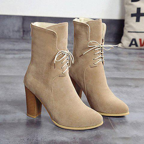 Buy Chunky Heel Tie Zip Short Boots - Light Khaki 39