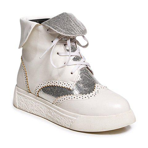 Discount Platform Engraving Tie Up Short Boots SILVER AND WHITE 39