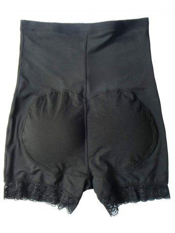 Outfits High Waist Boyshort Panties with Lace Trim - 2XL BLACK Mobile