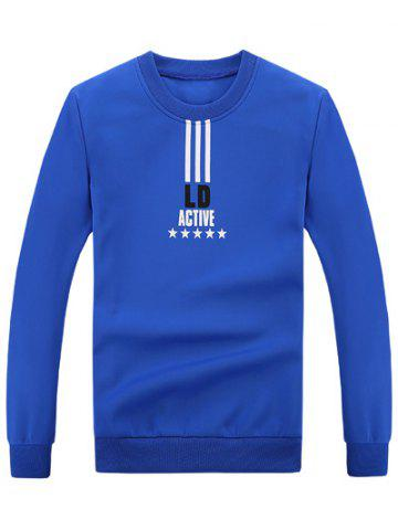 Affordable Rib Cuff Crew Neck Graphic Sweatshirt