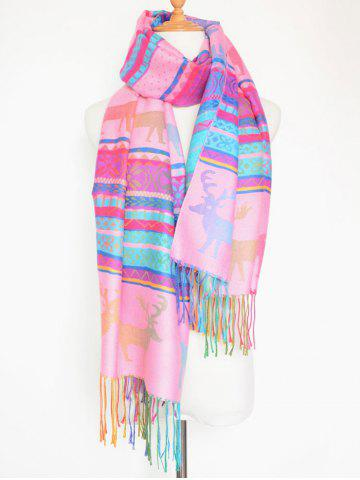 Fashion Outdoor Christmas Deer Pattern Colorful Tassel Scarf PINK