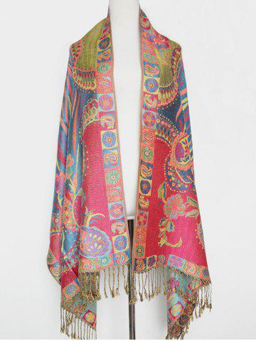 Hot Outdoor Ethnic Paisley and Flower Pattern Tassel Pashmina
