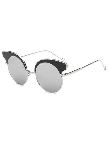 Trendy Cool Round Lens Butterfly Mirror Sunglasses SILVER