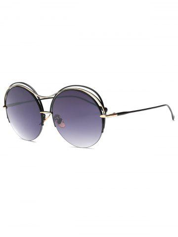 Affordable Cool Three Layered Frame Round Sunglasses BLACK