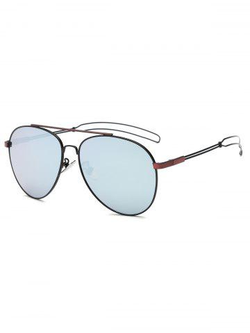 Outfits Cool Crossbar Hollow Out Leg Pilot Sunglasses WINE RED