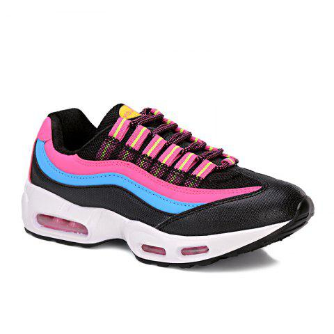 Outfits Breathable Colour Spliced Lace-Up Athletic Shoes BLACK/ROSE RED 40