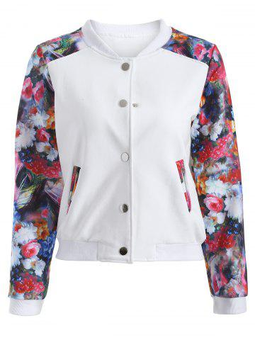 Chic Casual Flowers Print Sleeve Short Baseball Jacket