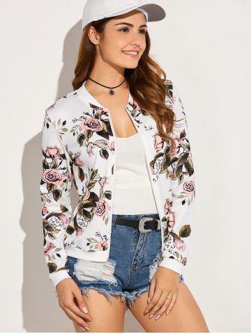 Buy Casual Roses Leaves Print Zip Up Jacket - M WHITE Mobile