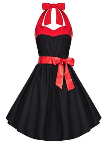 Retro Criss-Cross Halter A Line Dress - Black - S