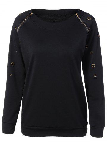 Outfits Zippered Crew Neck Pullover Sweatshirt BLACK XL