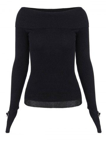 Outfit Boat Neck Long Sleeve Knitwear BLACK ONE SIZE