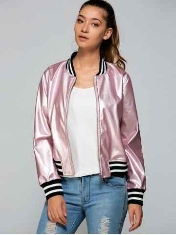 Affordable Zippered Striped Bomber Jacket PINK S