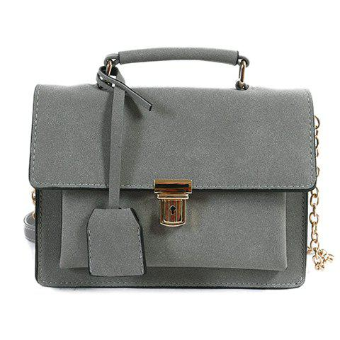 Discount Chain Covered Closure Square Shape Crossbody Bag GRAY