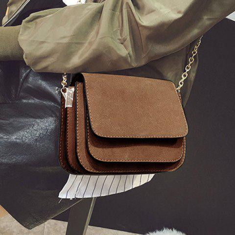Cheap Chain PU Leather Covered Closure Crossbody Bag BROWN