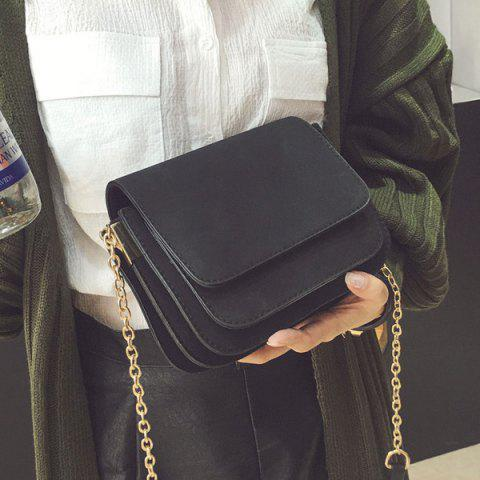 Outfit Chain PU Leather Covered Closure Crossbody Bag BLACK