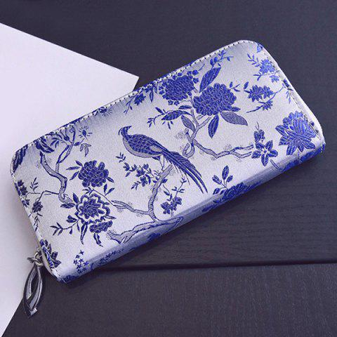 Discount Color Block Bird Pattern Embroidery Wallet - BLUE  Mobile