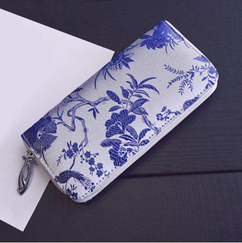 Outfits Color Block Bird Pattern Embroidery Wallet - BLUE  Mobile