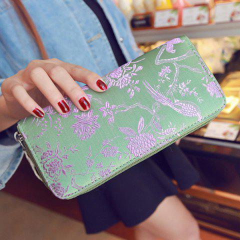 Hot Color Block Bird Pattern Embroidery Wallet - LIGHT GREEN  Mobile