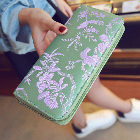 Outfits Color Block Bird Pattern Embroidery Wallet - LIGHT GREEN  Mobile