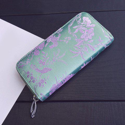 Fashion Color Block Bird Pattern Embroidery Wallet - LIGHT GREEN  Mobile