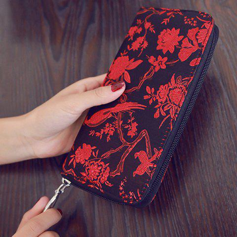 Hot Color Block Bird Pattern Embroidery Wallet - RED  Mobile