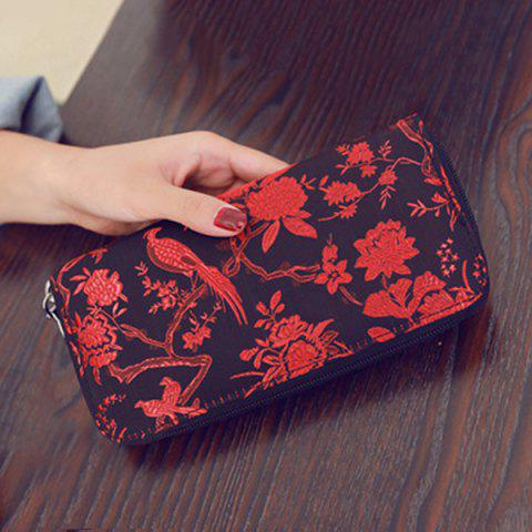 Outfits Color Block Bird Pattern Embroidery Wallet - RED  Mobile