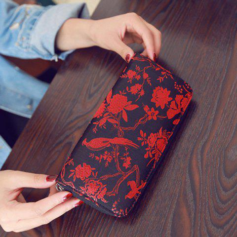 Fashion Color Block Bird Pattern Embroidery Wallet - RED  Mobile